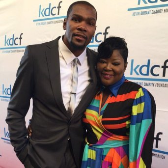 Kevin Durant and his mom, Wanda at his charity