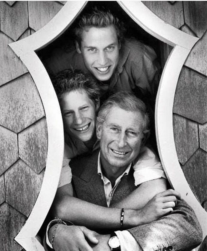 Harry and William with dad in happier times
